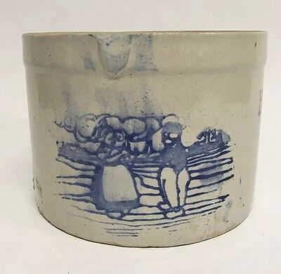 Antique Blue And White Stoneware Butter Crock Dutch Boy And Girl