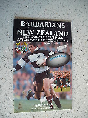 1993 BARBARIANS v NEW ZEALAND ALL BLACKS RUGBY PROGRAMME