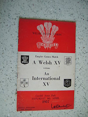 1958 WALES v AN INTERNATIONAL XV RUGBY PROGRAMME