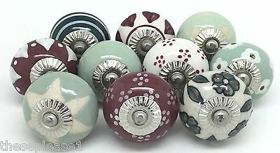 10 These Please Ceramic Knobs SECONDS Cranberry & Green Vintage Look Mix V27