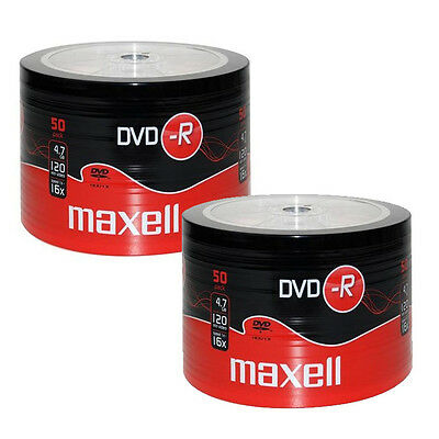 2 x 50 Packs100 Maxell DVD-R Recordable Spindle Blank Discs BULK  SHRINK WRAPPED