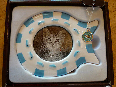 Papyrus Ceramic Cat Fish-Shaped Frame with Charm for Desk