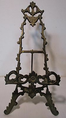 """10"""" Vintage Brass Easel Book Plate Photo Picture Frame Display Holder Stand Deco"""