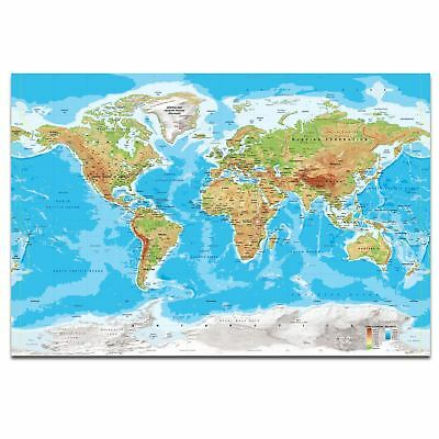 MAP OF THE WORLD Detailed Large Poster - Many Sizes