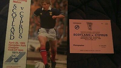 Scotland v Cyprus - 1989 programme with complete photographers ticket