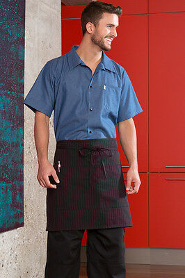 Vtex Half bistro waist apron 2 Section pockets 3056-7100 Blk with Red Pinstripe