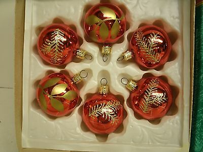 Vintage Glass Christmas ornaments - Red & Gold - Czechoslovakia