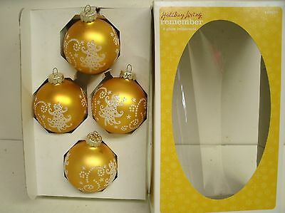 Glitter Stencil Tree Glass Christmas ornaments - Gold and white - Rauch