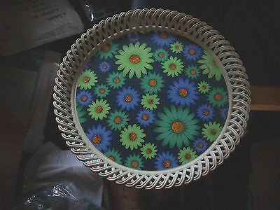 vintage tray, 1960,s to 70,s, round, plastic, bold retro floral design