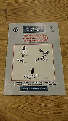 National Police Swimming, Water Polo and Diving Championships 1996 Programme