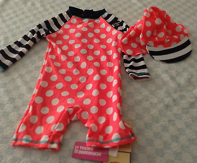 baby girls 50+ uv swimsuit surfsuit + hat salmon pink white blue polka sev sizes