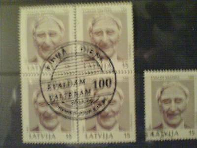 5 Latvia stamps. Actor E. Valters. First day cancel.
