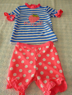 baby girl pink blue white strawberry stripe 2 piece UV 40+Surfsuit 3-6 month NEW