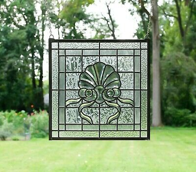 "Handcrafted stained glass Clear Beveled window panel,16.75"" x16.75"""