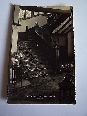 Vintage RP Postcard The Royal County Hotel Durham Interior Staircase