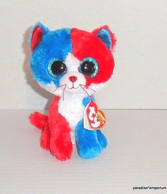 "New TY Beanie Boos Firecracker Cat Plush USA Red White Blue 6"" P45"