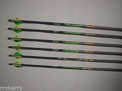6 Gold Tip XT Hunter 400 5575 Carbon Arrows w/ Bohning Blazer Vanes! WILL CUT!!!