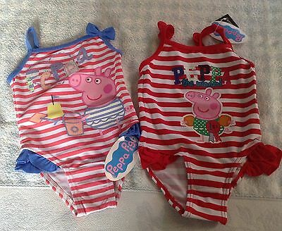 baby girls Peppa Pig holiday swimsuit frilly seaside stripes sev sizes NEW TAG