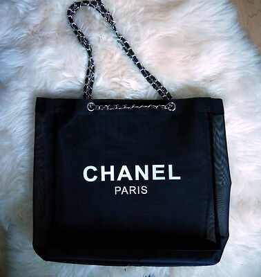 CHANEL Black Mesh Shopping Tote bag Counter Leather SILVER Chain VIP Gift- Large