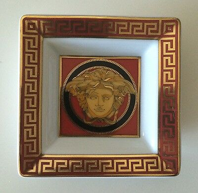 Versace Medusa Red Ash Tray Pin Dish Rosenthal Mint