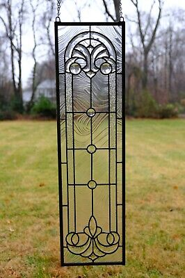 "10"" x 36"" Stunning Tiffany Style stained glass Clear Beveled window panel"