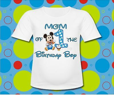 Blue Baby Mickey Mouse Mom of the Birthday Boy T Shirt Mickey 1st Birthday shirt