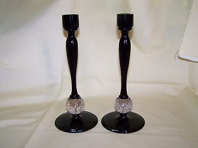 """Pr. Erickson Glass Amethyst w/Crystal Controlled Bubble Ball 10"""" Candle Holders"""