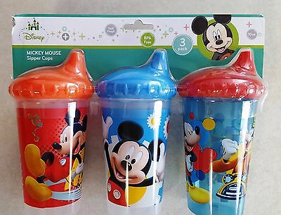 Disney Mickey Mouse Toddler Insulated Sippy Cups 3 Count Spill Proof