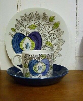 Vintage RORSTRAND EDEN Trio, Cup & Saucer, Plate Swedish Art Pottery