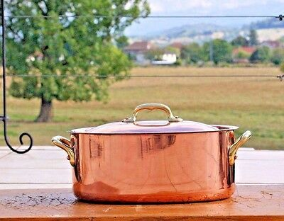 Beautiful Vintage French Ovale Copper Stockpot Marmite Faitout Copper Rivets 2mm
