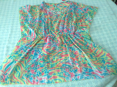 girls beach cover up swimsuit kaftan blouse top multi beads sequins 7-12 years