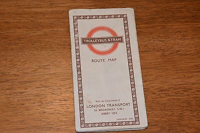 1950 London Transport Trolleybus And Tram Route Map Ref B9