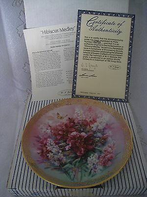 Vintage Decorative Collector Plate - Hibiscus Medley by Lena Liu