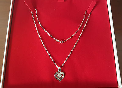 OJ PERRIN collier chaine pendentif coeur LEGENDE or blanc 18cts
