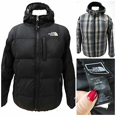 Boys THE NORTH FACE REVERSBLE BLACK DOWN FILLED 550 JACKET LARGE 14/16yrs (1121)