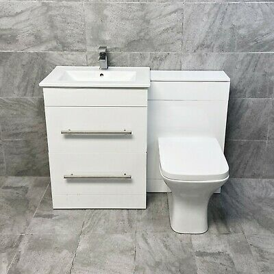 Savu 1100mm or 1300mm Vanity Set Bathroom Suite Sink Basin + Toilet Unit Square