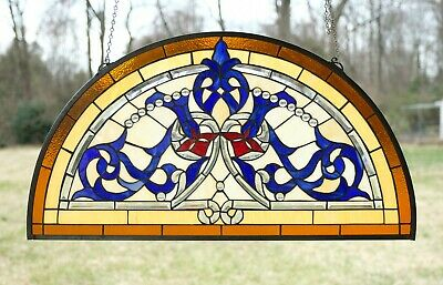 """34.5""""L x 18.5""""H Half Round Handcrafted stained glass window Glass panel"""