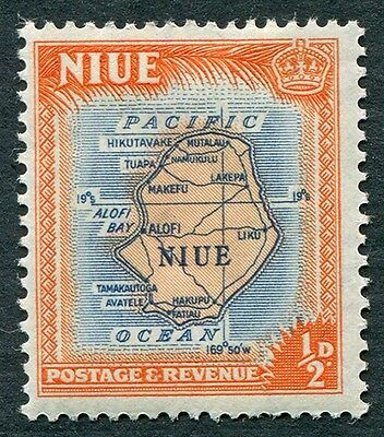 NIUE 1950 1/2d orange and blue SG113 mint MH FG Map of Niue b #W6
