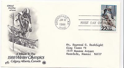 US 1988  Calgary Winter olympics first day cover FDC FDI ski-ing Artcraft