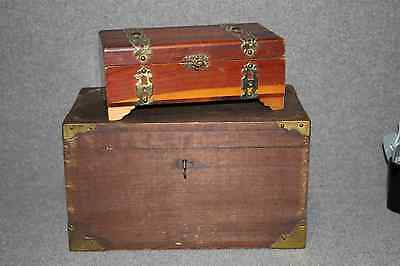Vintage Antique Set Of 2 Wooden Boxes - Chests, With Brass Metal Accents. 1- Sma