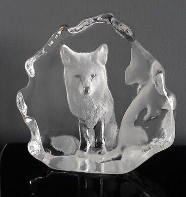 Mats Jonasson Sweden Sculptured Frosted Chunky Crystal Glass Fox Paperweight