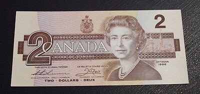 1986 $2 Bank of Canada Thiessen Crow BBX small b BC-55bA UNC