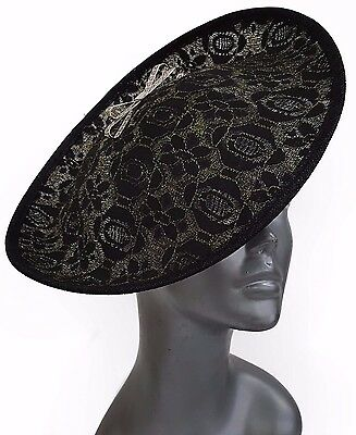 Church Kentucky Derby Carriage Wedding Tea Lace Covered Sinamay Fascinator Black