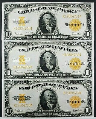 1922 $10 Gold Certificates 3 Consecutive Serial Numbers NICE!!