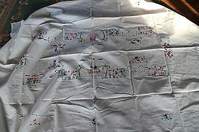 colourful embroidery  white cotton table cloth