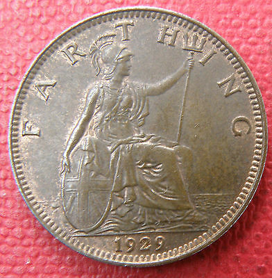 Great Britain King George V. 1929 Farthing Coin, Uncirculated Grade,much Lustre