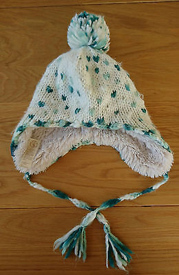 Fat Face Girls Wool Trapper Hat with Bobble and tie tassles