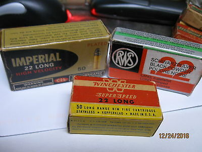 3 diff Excellent 22 Long Boxes 1940-80's Vintage Winchester RWS Imperial ammos