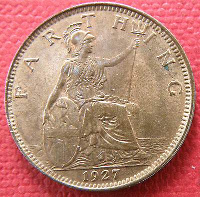 Great Britain King George V. 1927 Farthing Coin, Uncirculated Grade,much Lustre