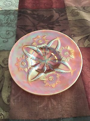 Dugan Carnival Glass Two Flower Peach Opalescent 6 Inch Plate